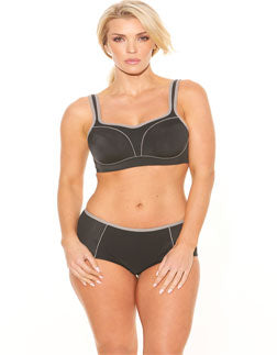 Fit Fully Yours Pauline Underwire Sports Bra, Black/Grey