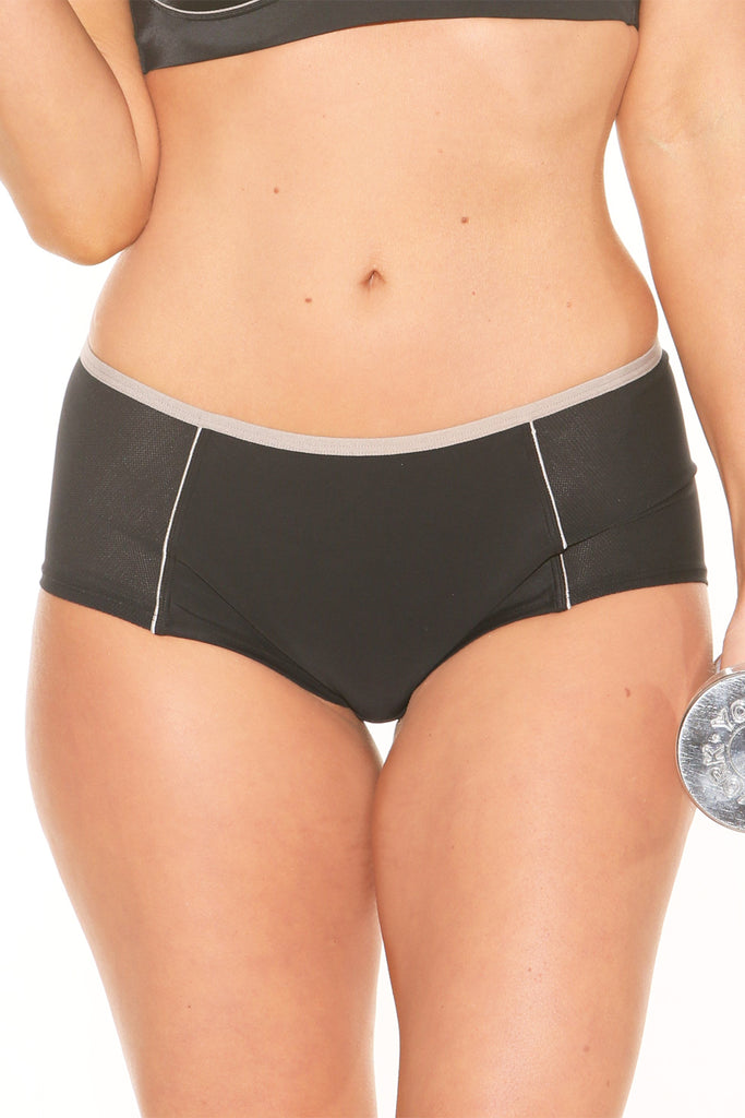 Fit Fully Yours Pauline Boyshort Panty, Black/Grey