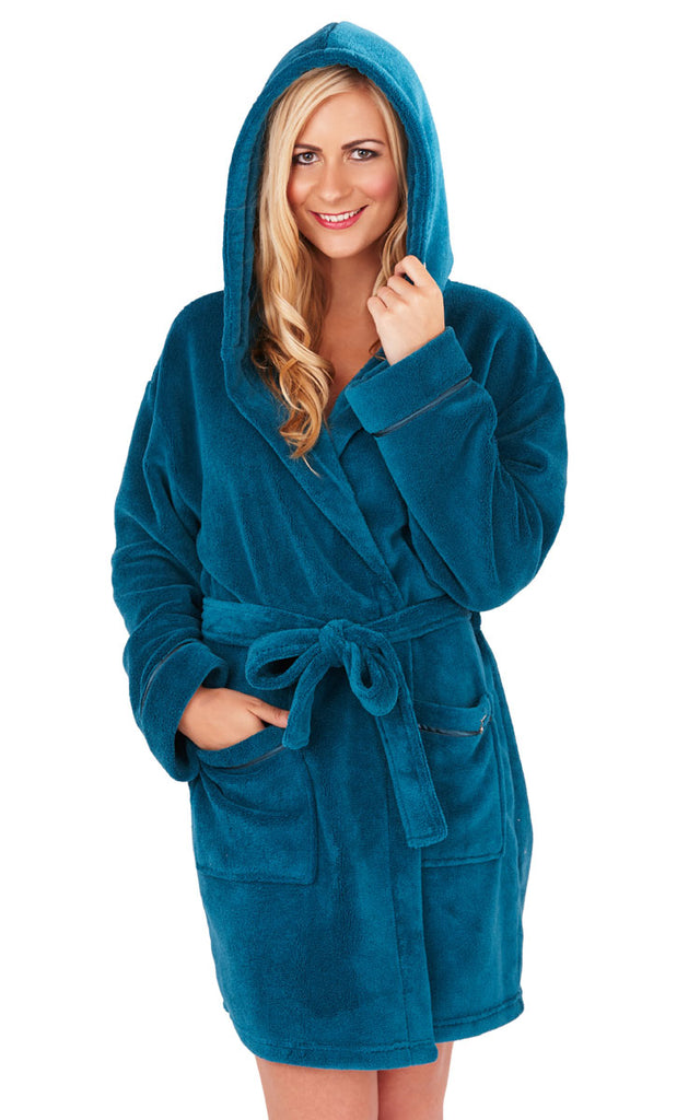 Soft Hooded Boyshort Bathrobe, Teal
