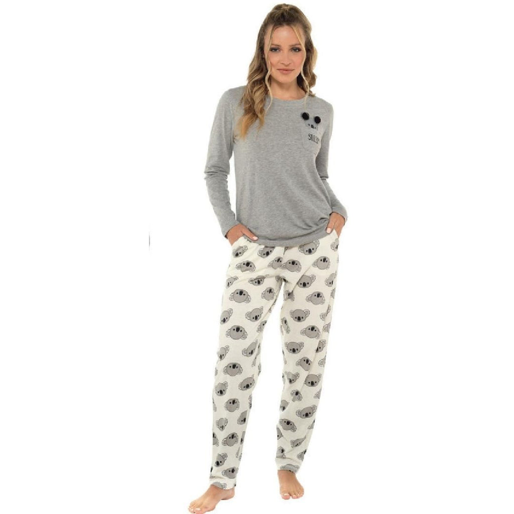 Ladies Koala Print Jersey Pajama Set