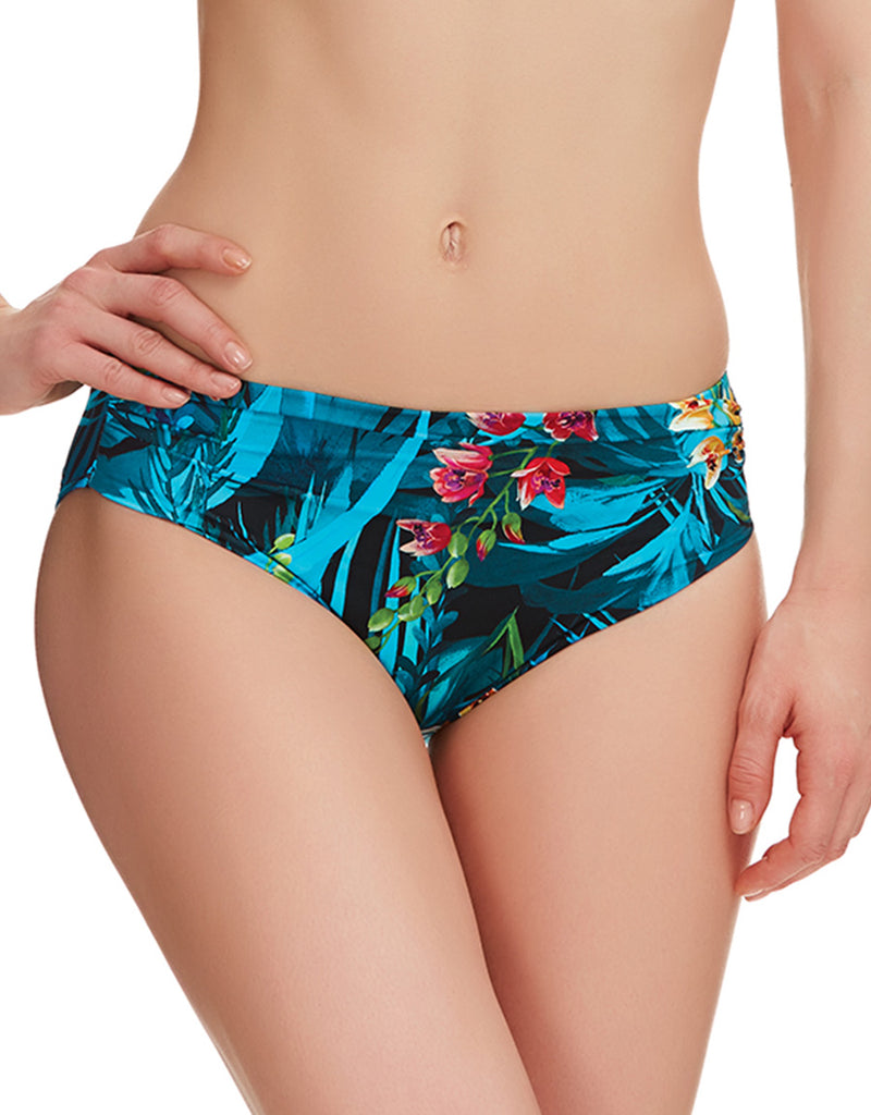 Fantasie Seychelles Mid Rise Gathered Bikini Brief,  Azure