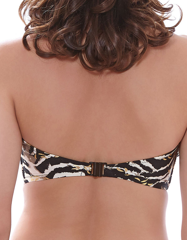 Fantasie Milos Underwire Bandeau Bikini Top, Black and Cream