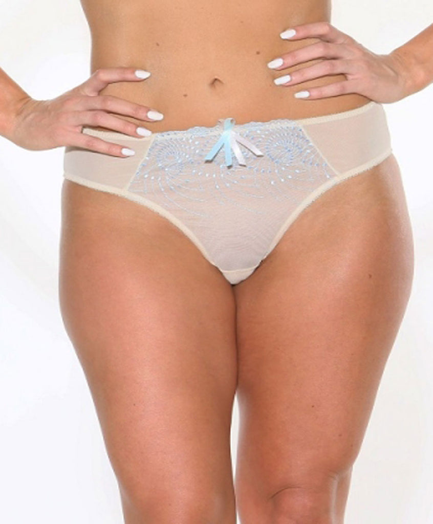 Fit Fully Yours Nicole Tanga Panties, Ivory Blue