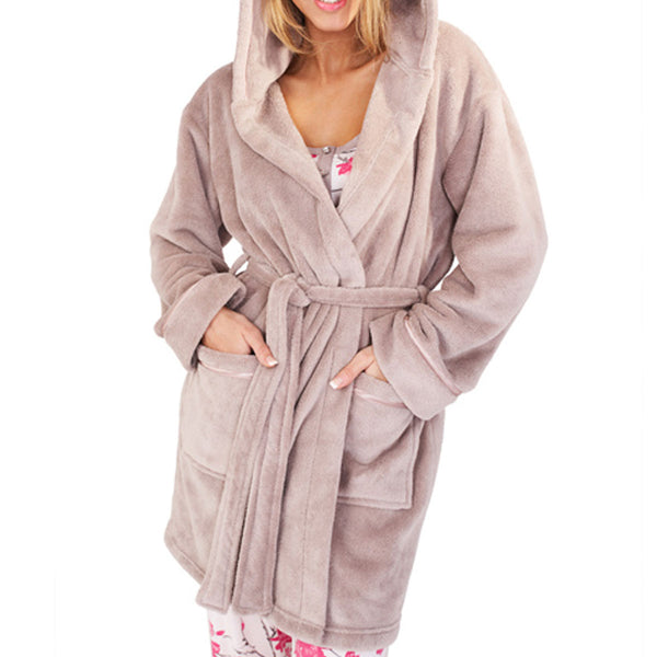Soft Hooded Boyshort Bathrobe, Taupe