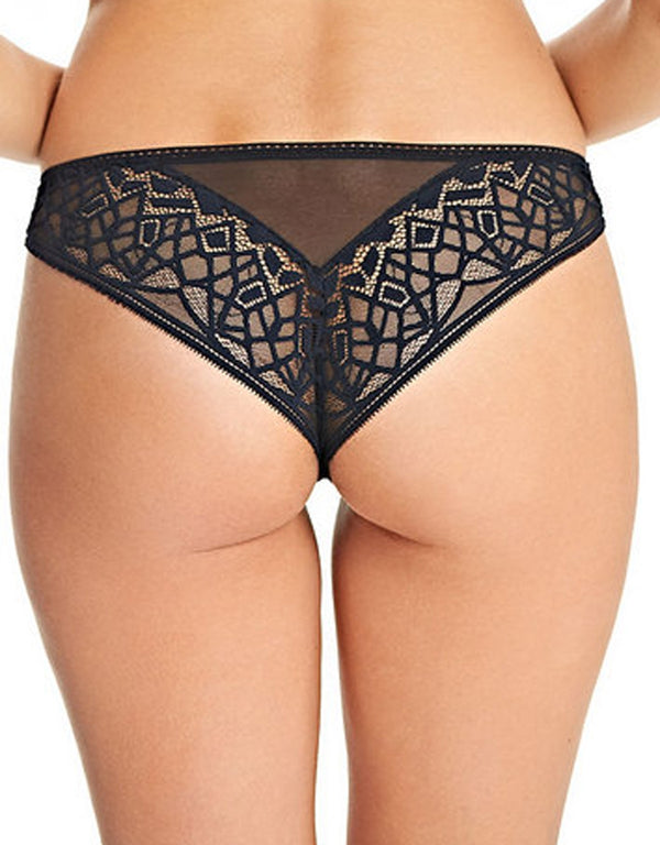 Freya Soiree Lace Brazilian Panty, Black