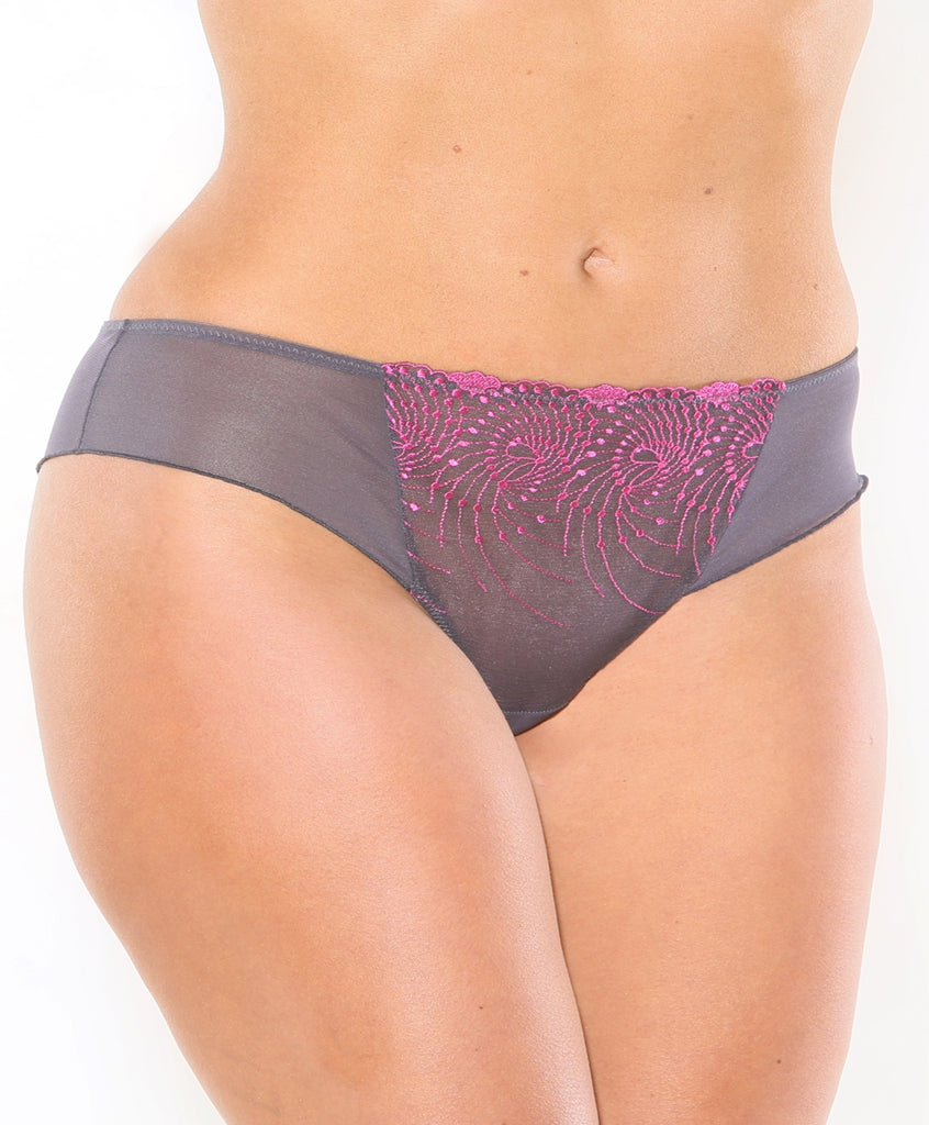 Fit Fully Yours Nicole Bikini Brief Panties, Graphite Fuchsia