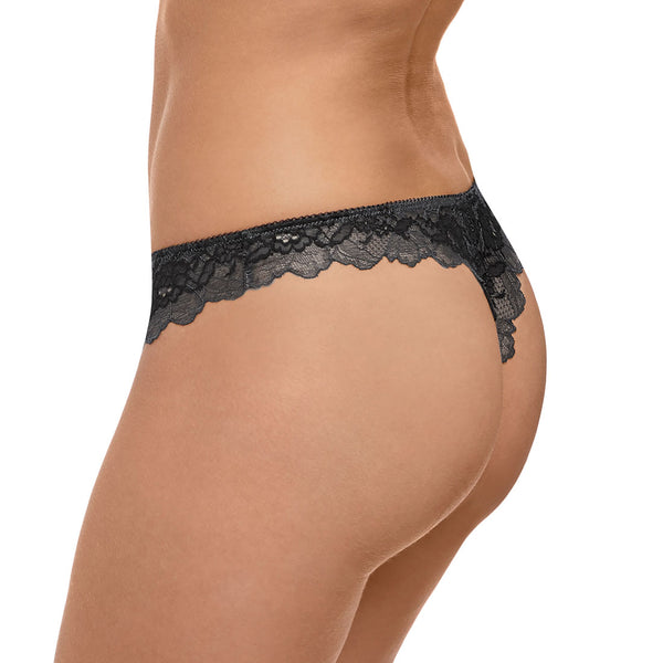 Wacoal Lace Perfection Tanga Panty, Charcoal