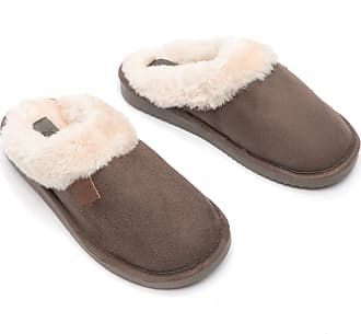 Bras & Honey Ladies Wicklow Slippers Faux Sheepskin Mule, Brown