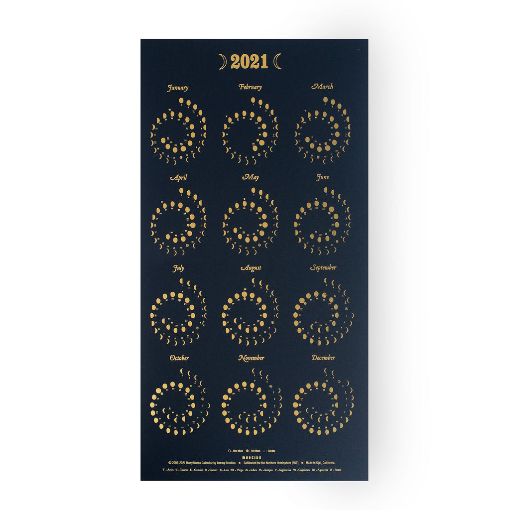 Moon Calendar - Gold Foil on Black