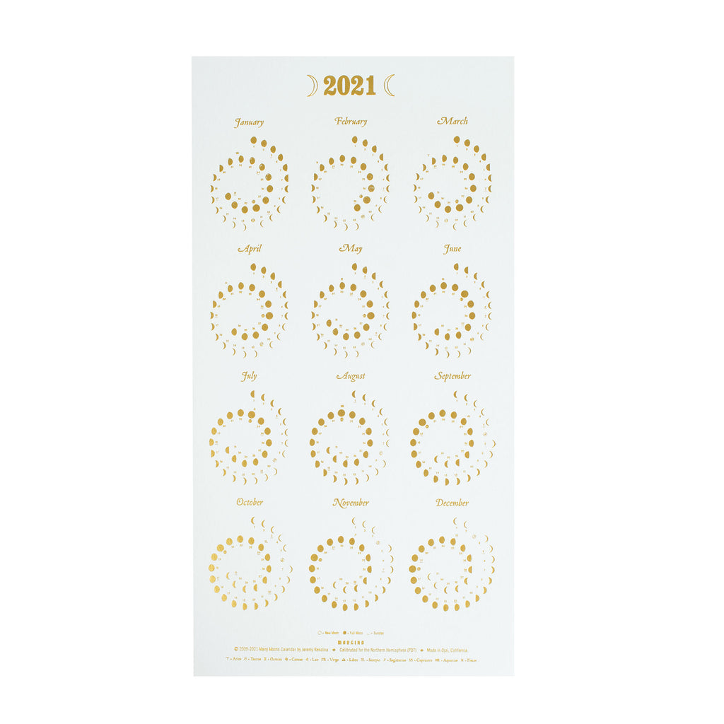 Moon Calendar - Gold Foil on Pearl White