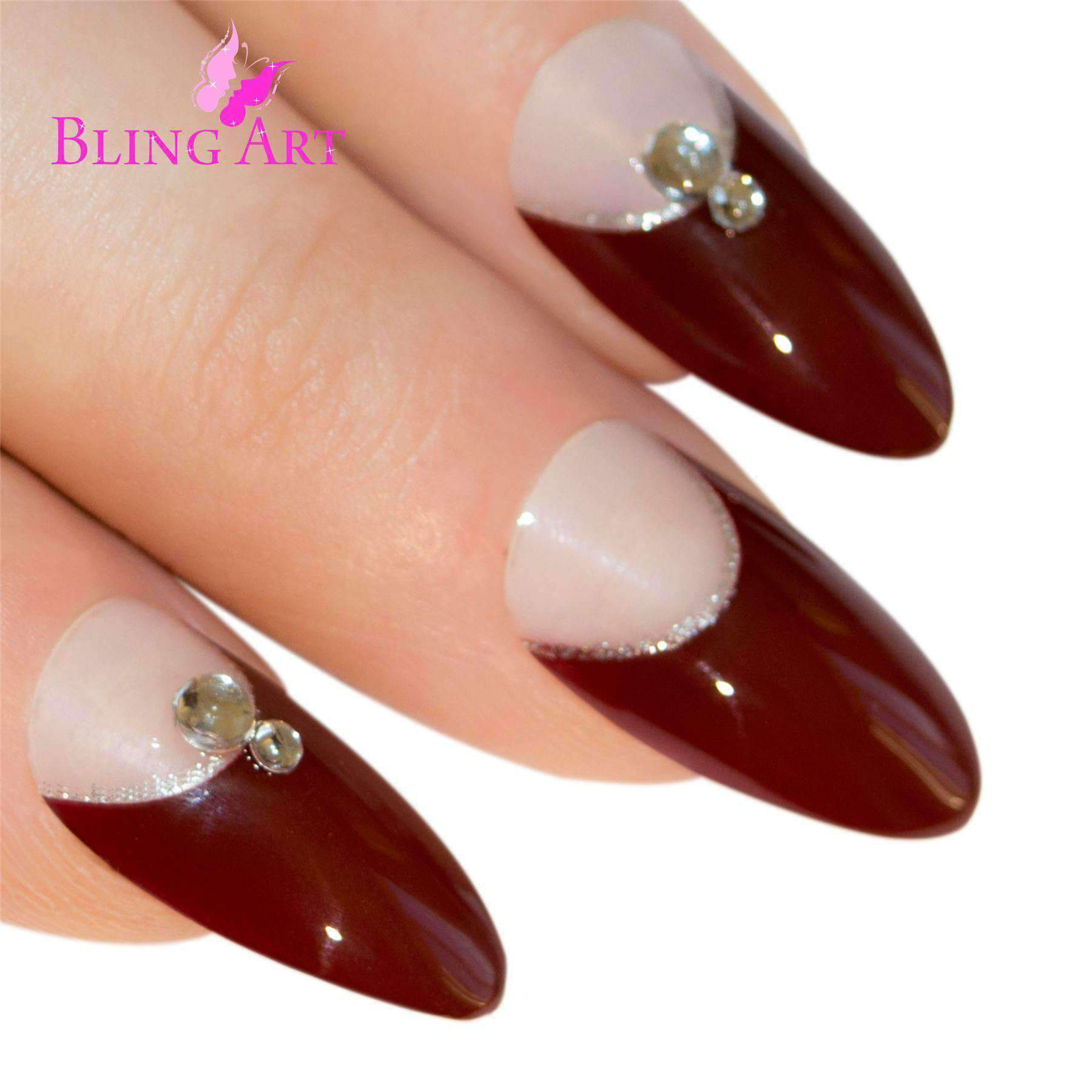 False Nails Bling Art Red Brown Almond Stiletto Long Fake Acrylic Tips
