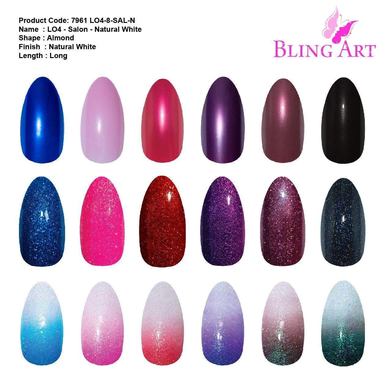 False Nails by Bling Art 360 Stiletto Almond Long Natural Acrylic Fake