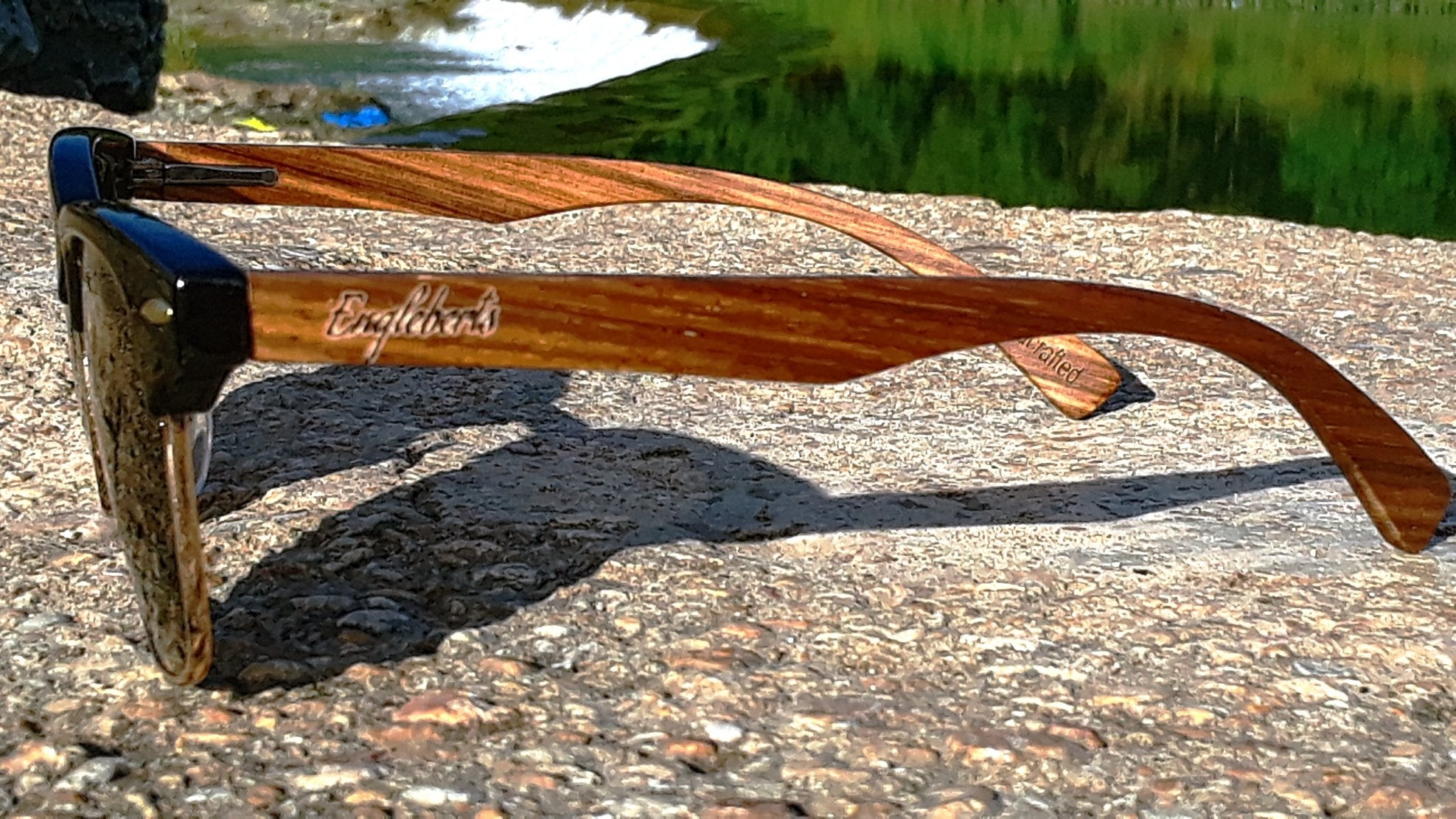 Handcrafted Walnut Wood Club Style Sunglasses With Bamboo Case,