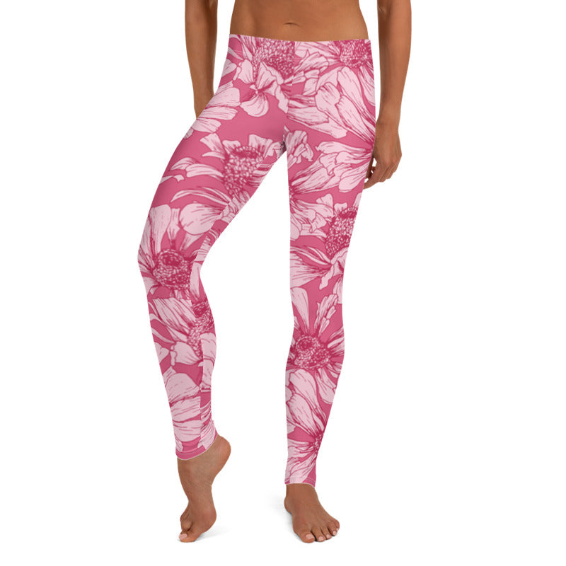 Pink Floral leggings, Capris and Shorts