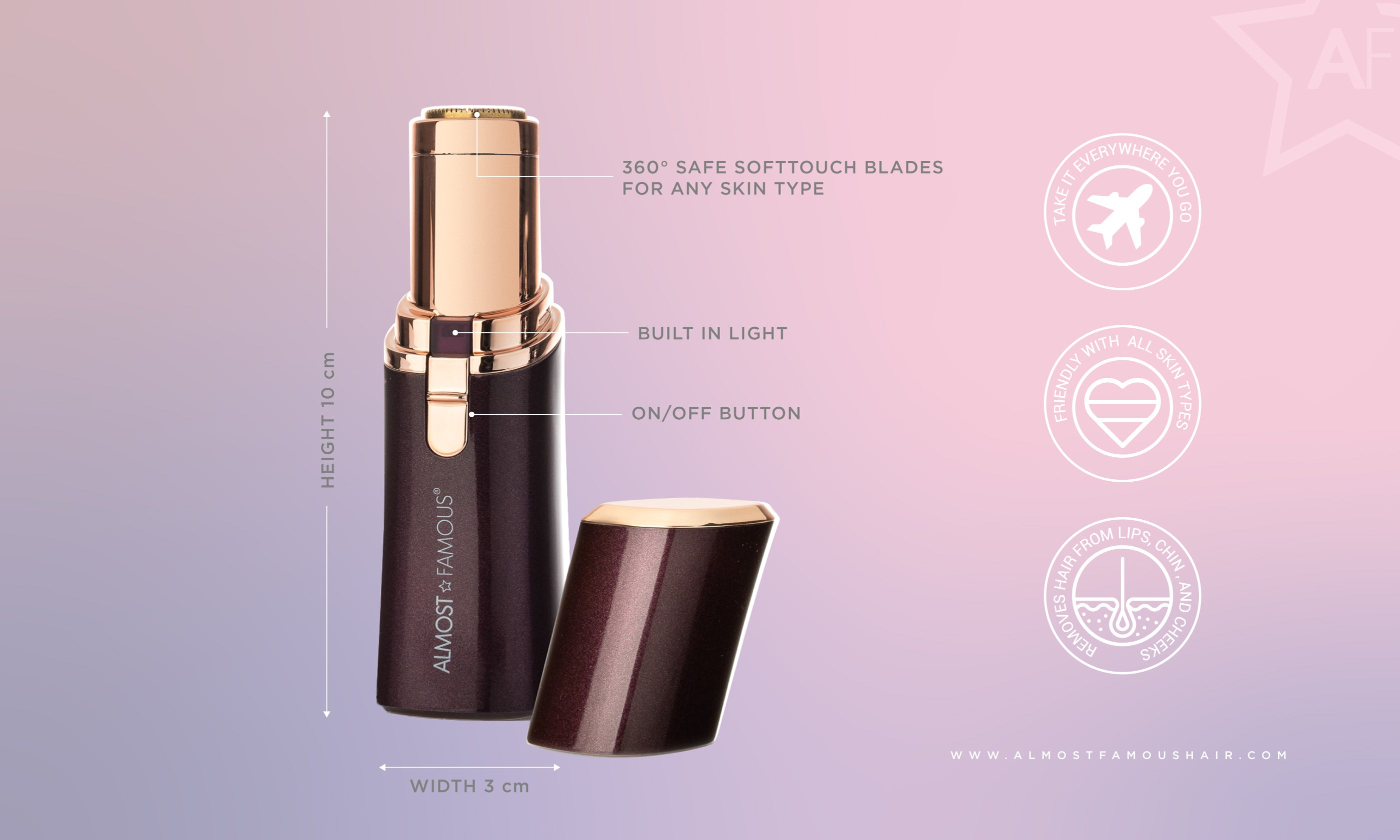 "Almost Famous ""Buzz It"" Shaving facial wand with Rose Gold accents"