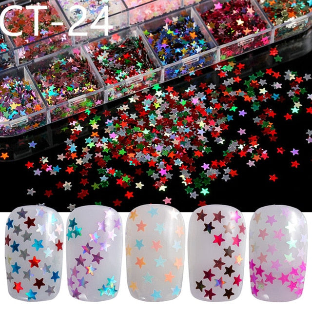 12 Grids Nail Glitter/Flakes/Mirror Powder 3D Charms Decoration Supplies Tool