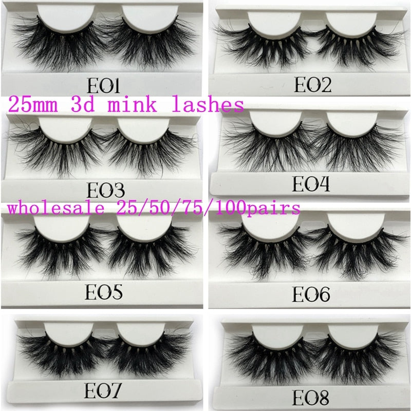 Mikiwi 25mm 25/50/75/100 pc Wholesale 3D Dramatic Long Mink Lashes