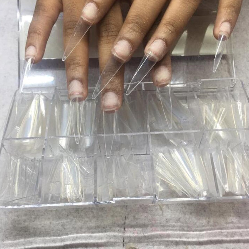 500pc/Box Pointy Stiletto Nail Tips Clear/Natural