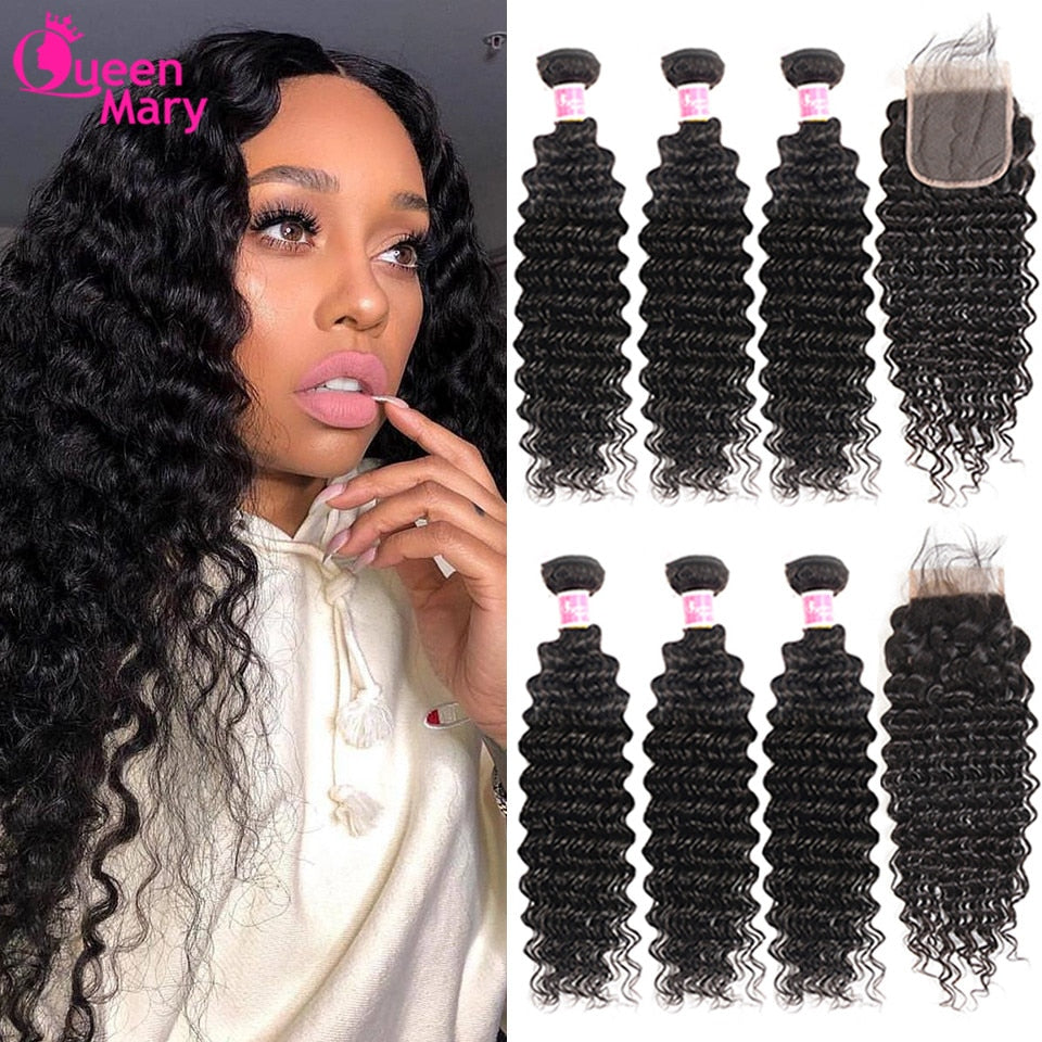 Brazilian Deep Wave Bundles With Lace Closure Non Remy Human Hair 3 and 4 Bundles