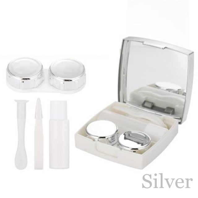 1Pcs Colored Contact Lens Case With Mirror Container