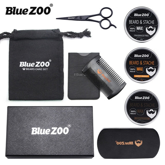 Blue Zoo 7pcs/set Men Beard Kit Grooming Set