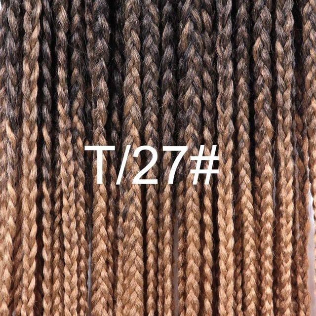 Leeons High Quality Braiding Hair Extension Synthetic Hair Braids Box Crochet Braids Brown Blonde GreBurgundy Ombre