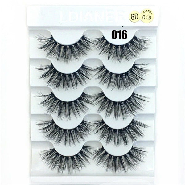 5 Pairs 6D Faux Mink Natural Long Wispies Handmade Cruelty-free Eyelashes