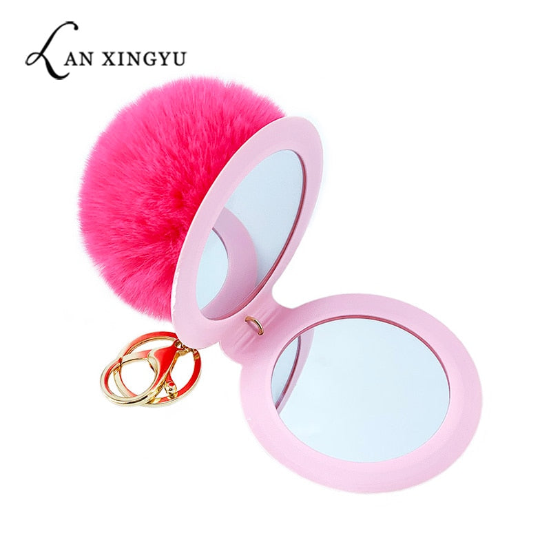1Pcs 12 Color Cute Puff Ball Mirror KeyChain