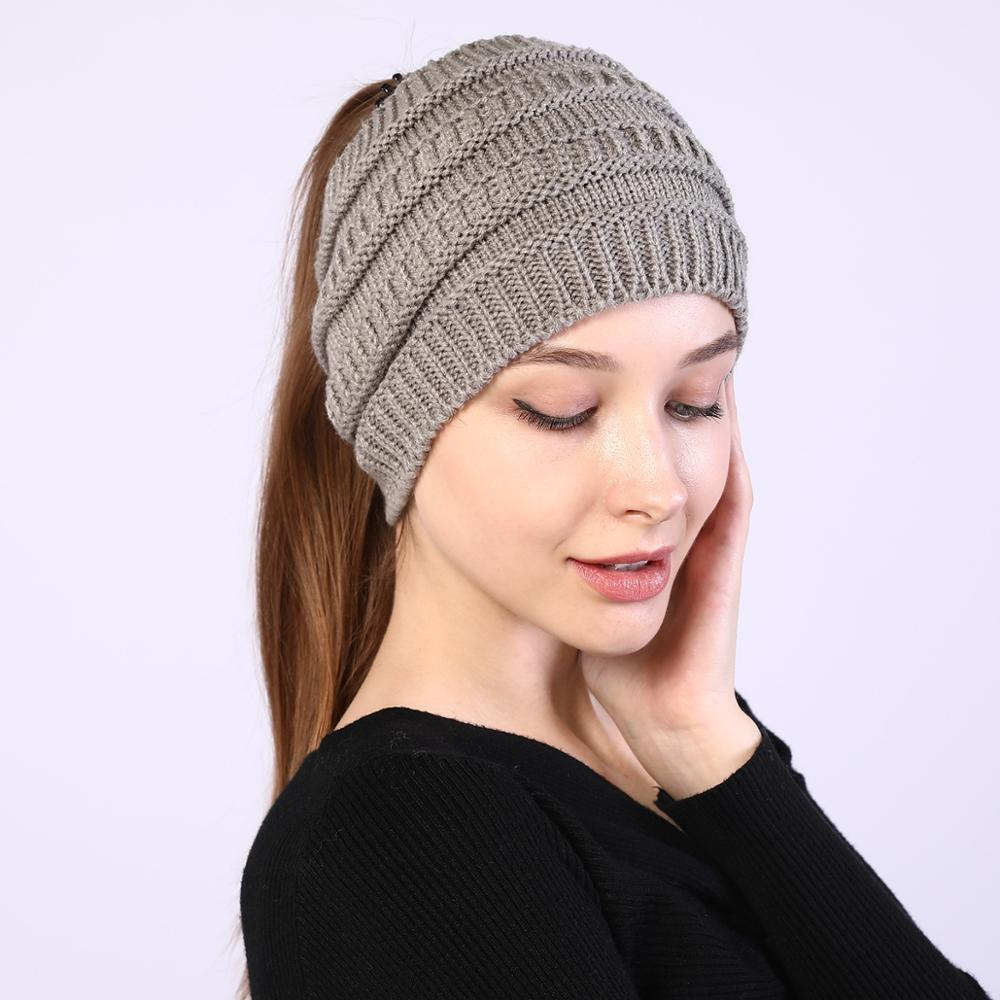 Ponytail Beanie Knitted Crochet Beanies