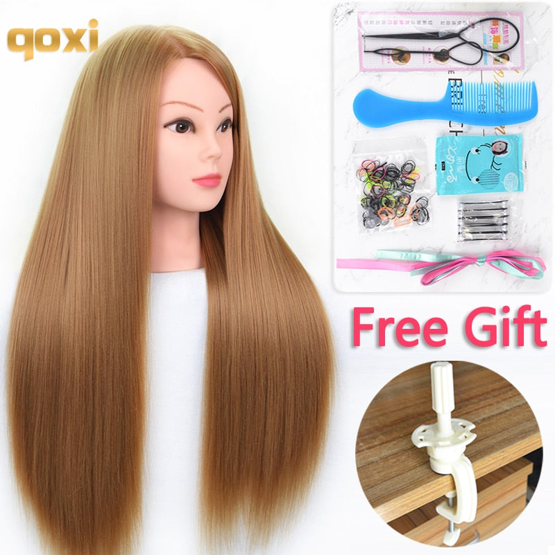 Qoxi Mannequin Heads with 65cm Hair for braiding/hairdresser practice hair styling