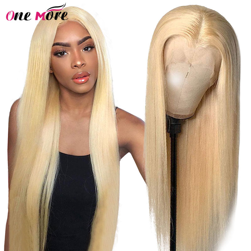 613 Blonde Lace Front Wig Middle Part Straight Human Hair 28 30 inch Transparent Glueless 180%
