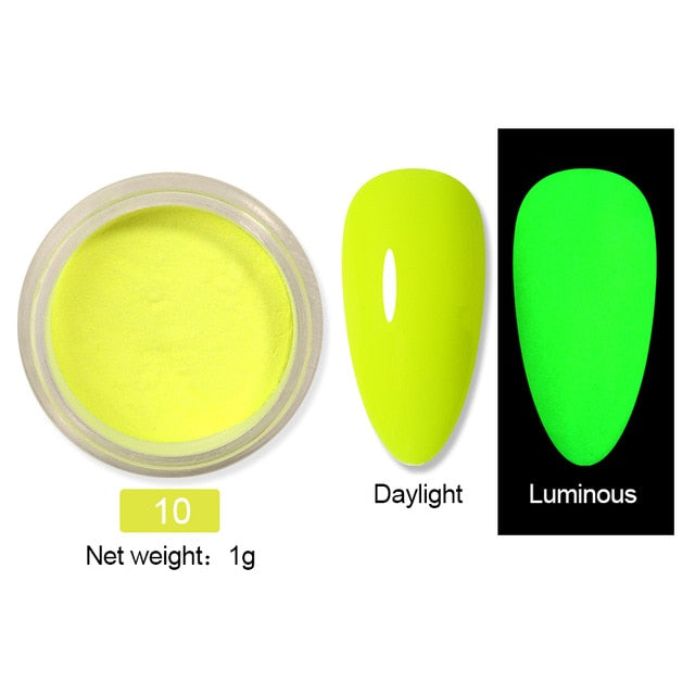10g Fluorescent Nail Powder Neon Phosphor Colorful Nail Art Glow in the Dark