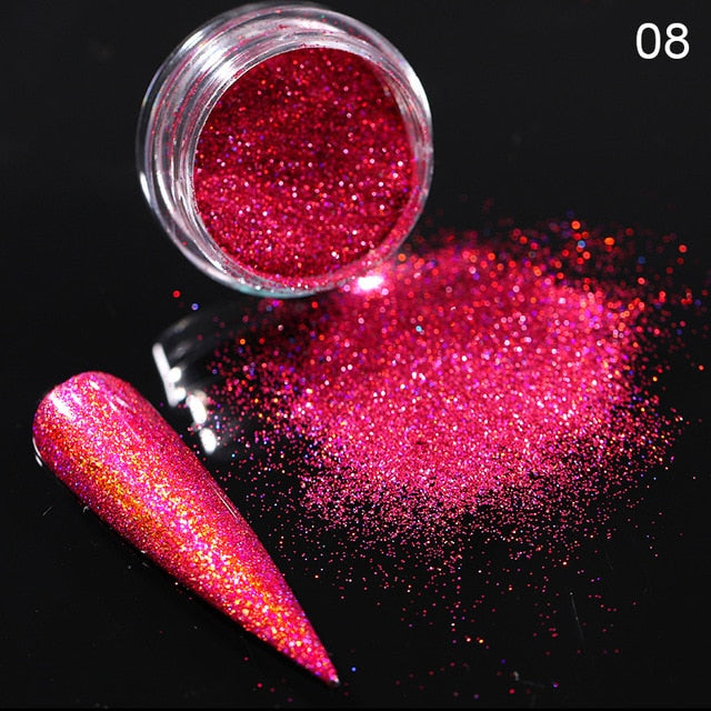 0.3g   Silver Pink Glitter Chrome Nail Powder Shimmer Gel Polish