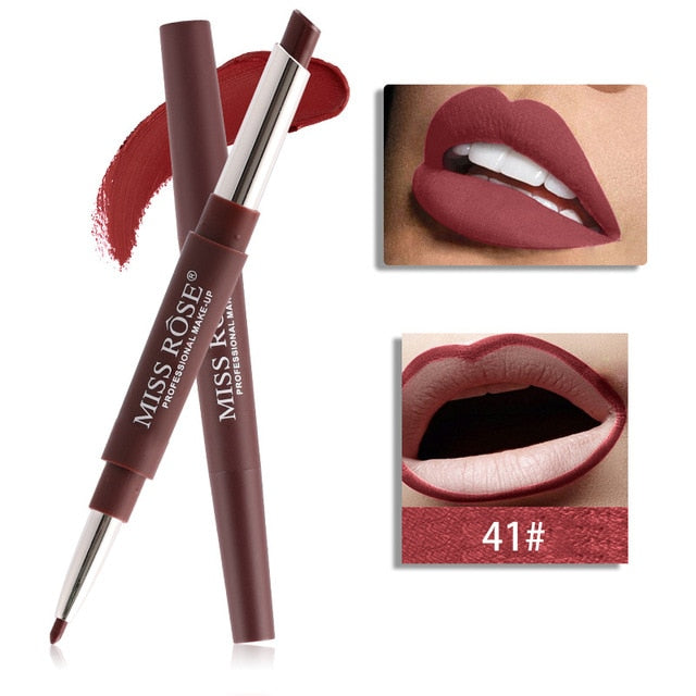 20 Color Matte Lipstick Lip Liner 2 In 1 Durable Waterproof Lipstick