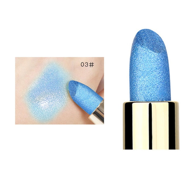 Holographic Mermaid Glitter Metallic Lipstick Waterproof Cosmetics