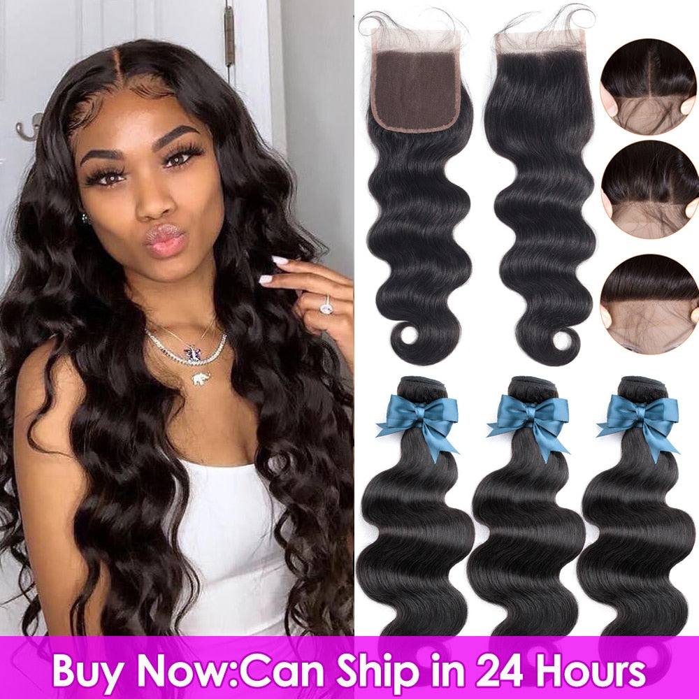 BEAUDIVA Brazilian Body Wave 3 Bundles With Closure Human Hair With Closure Lace Closure Extension
