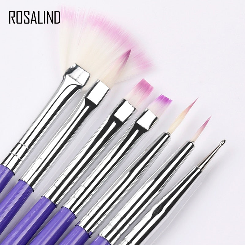 ROSALIND 7PCS Manicure Brush Kit Gel Varnishes Tools