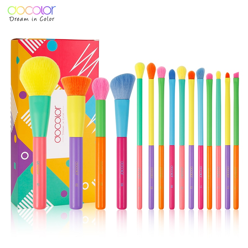 Docolor 15pcs  Professional Colourful Makeup Brushes