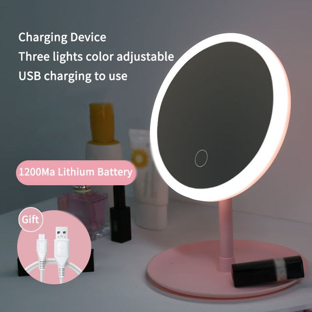 Led Light Makeup Mirror Storage /Touch Dimmer Vanity Mirror USB