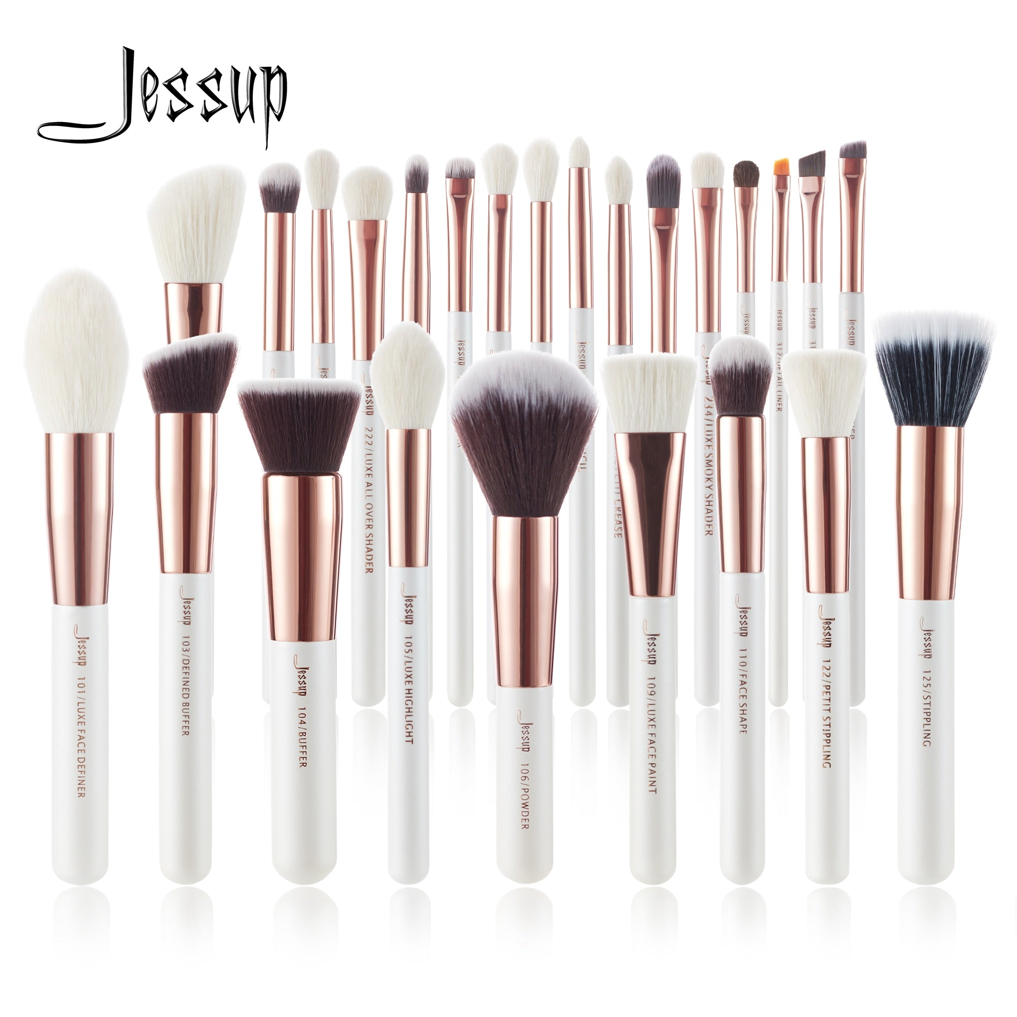 Jessup Makeup 6-25pcs Pearl White / Rose Gold Professional Foundation Powder Blushes