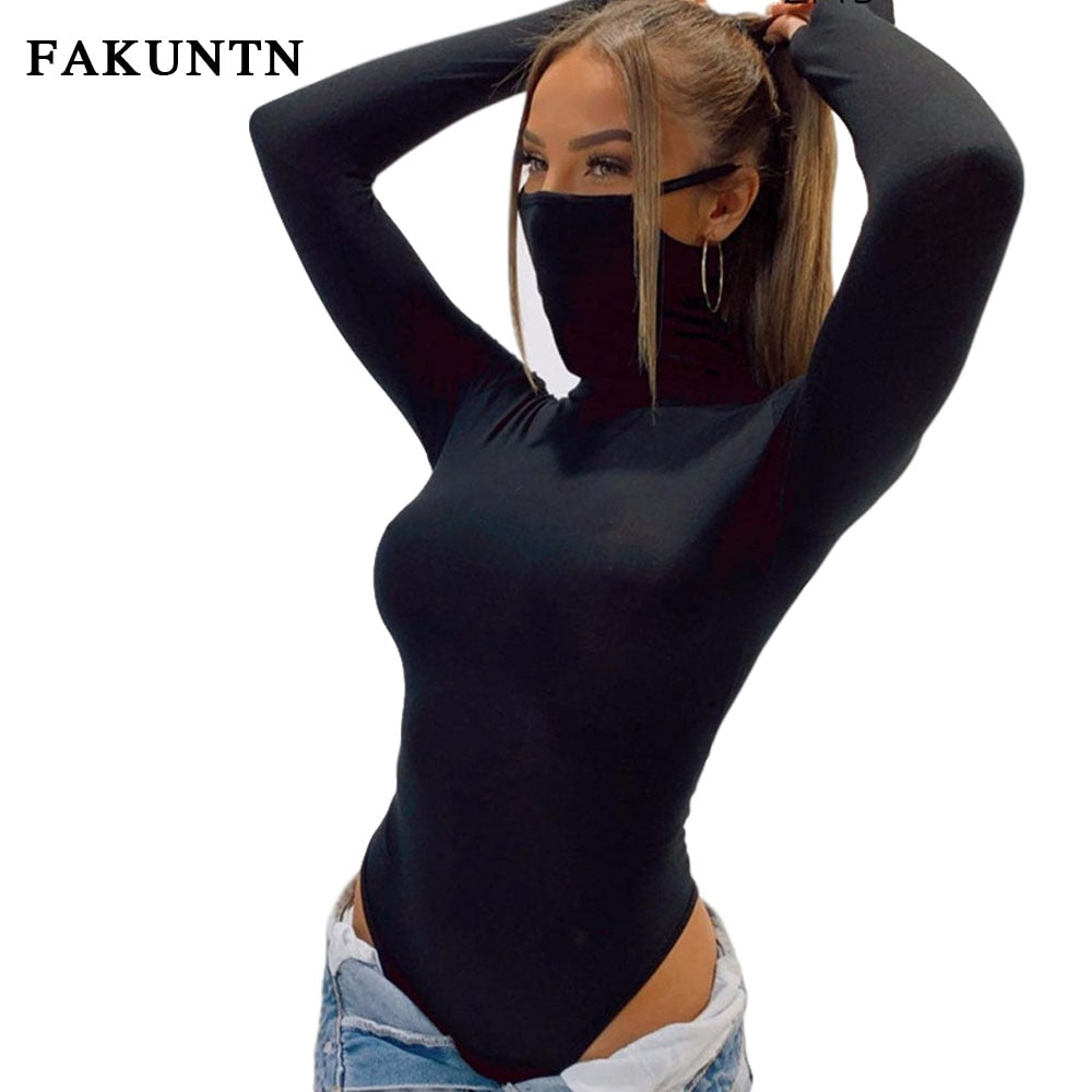 FAKUNTN Women Long Sleeve Bodysuit Casual Female Jumpsuit