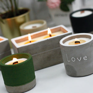 Concrete Wood Wick Candle - Sea Lime or Sandalwood