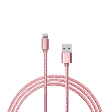 Load image into Gallery viewer, 1m Pink Glitter iPhone Lightning Charger Cable - Pink Glitter