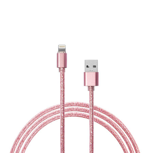 1m Pink Glitter iPhone Lightning Charger Cable - Pink Glitter