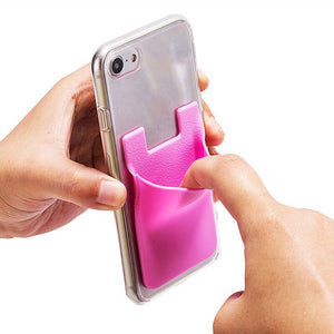 Silicone Card Pocket Storage for Mobile Phone - Blue