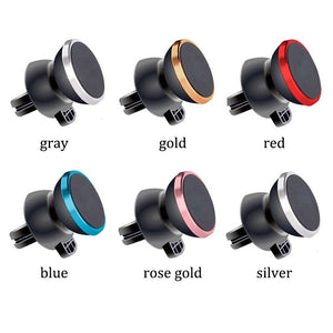 Magnetic Air Vent Clip Phone Holder -W/Magnet - Gold