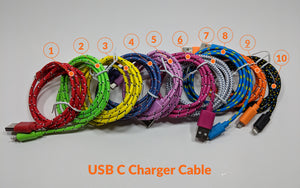 [2 PACK] 1.0m USB-C Charger Cable - Fabric - Dark Pink