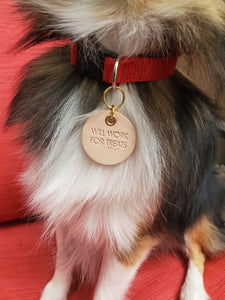 'Will Work for Treats!' Leather Dog Tag