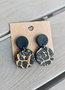 Black & Orange Cracked Clay Dangle Earrings