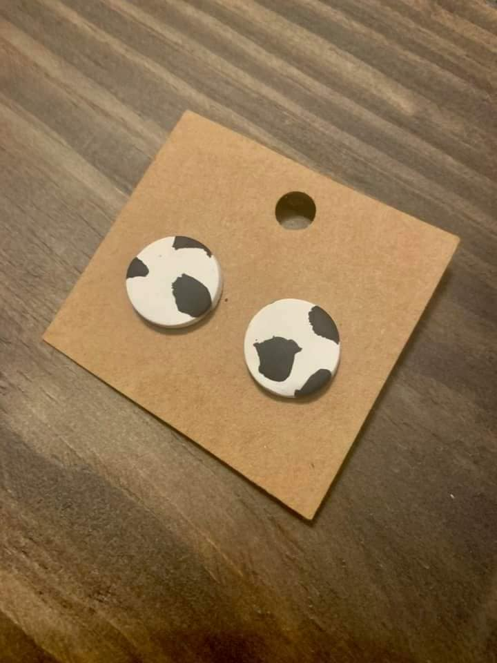 Cow Stud Clay Earrings